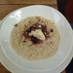  1/2 serve of Quinoa Porridge with Rhubarb, Black Cherries &amp; Creme Fraiche